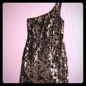 Dresses & Skirts - Black & silver sequin one shoulder dress
